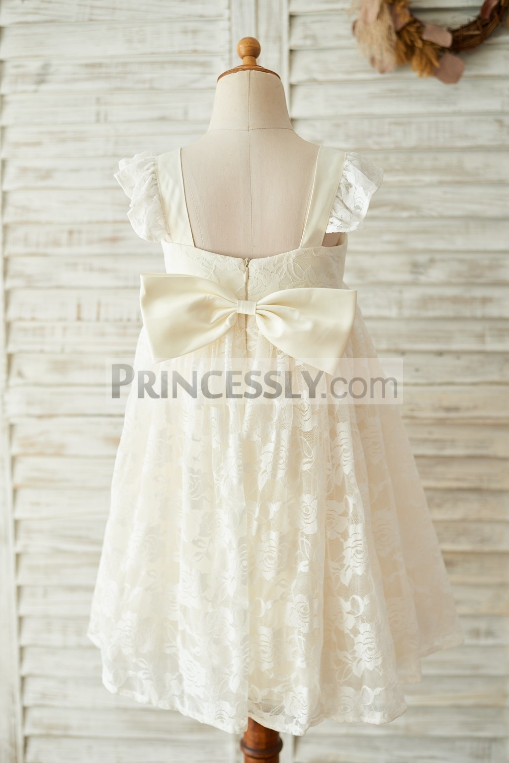 d50cd79cb6b Babe Champagne Lace Cap Sleeves Backless Wedding Toddler Girl Dress