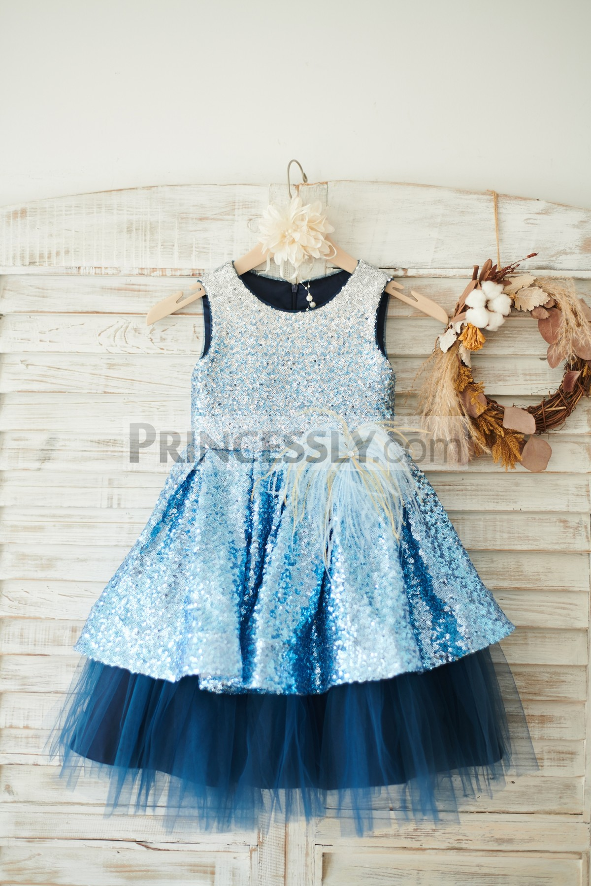 f4e8b50df Child Colorful Sequins Navy Blue Satin Tulle Wedding Toddler Girl Dress