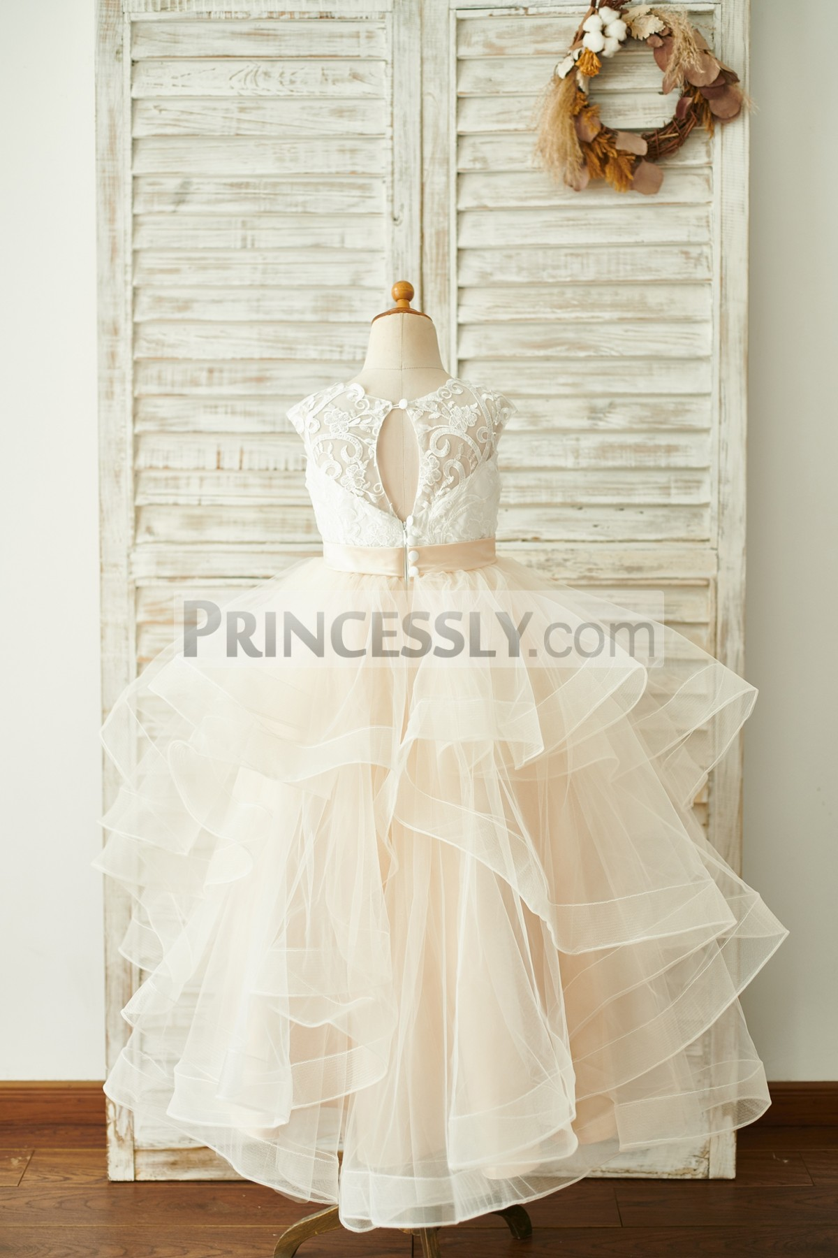 905dc6e6acc Baby Ivory Lace Champagne Tulle Horsehair Wedding Toddler Girl Dress ...