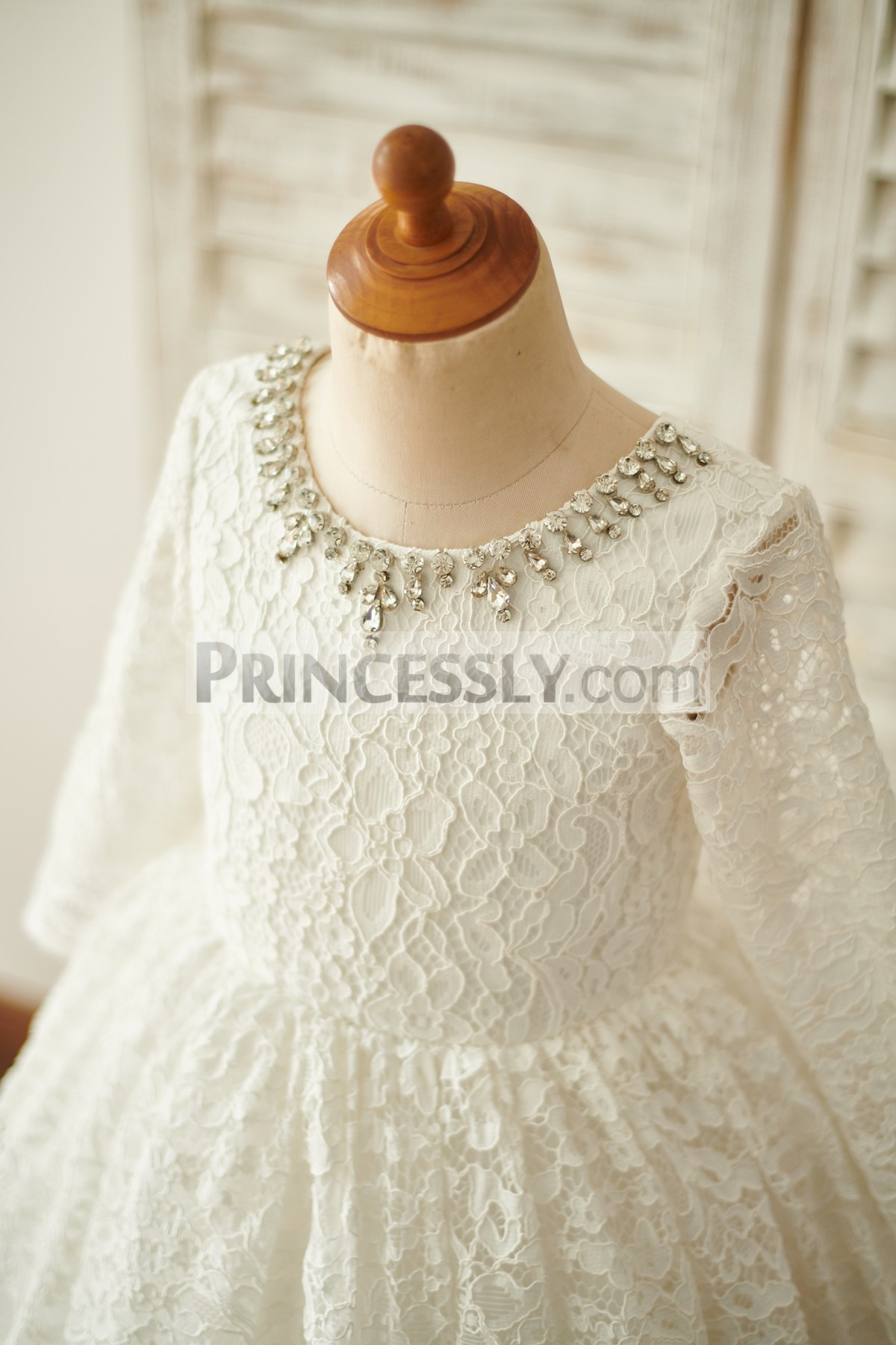 b40e47ccbc5 Babe Long Sleeves Crystal Scoop Neck Lining Wedding Toddler Girl Dress