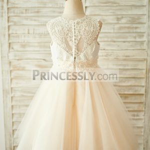 619a3876577 Kid Ivory Lace Satin Champagne Tulle Beaded Buttons Toddler Girl Dress