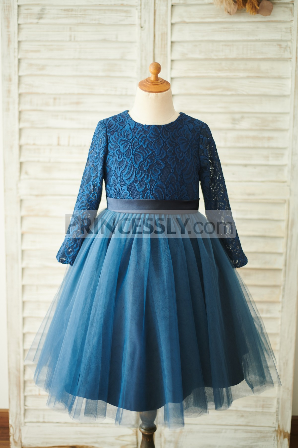 178e2cfe2 Baby Long Sleeve Navy Blue Lace Tulle Wedding Toddler Girl Dress ...